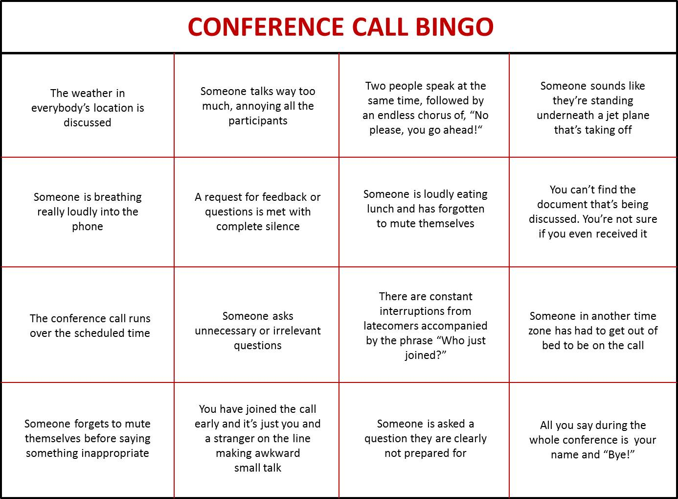 Play Conference Call Bingo To Keep Your Meetings Interesting